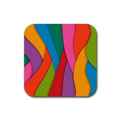 Abstract Background Colrful Rubber Square Coaster (4 Pack)