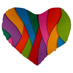Abstract Background Colrful Large 19  Premium Heart Shape Cushions