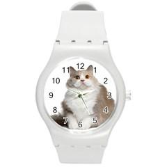 Cutefat Cat  Round Plastic Sport Watch (m)