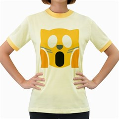 Cat Emoji  Women s Fitted Ringer T Shirts