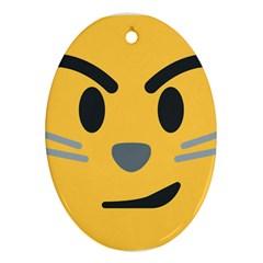 Cat Emoji Oval Ornament (two Sides) by goodart