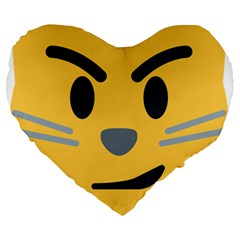 Cat Emoji Large 19  Premium Heart Shape Cushions