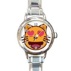 Smiling Cat Face With Heart Shape Round Italian Charm Watch