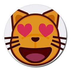 Smiling Cat Face With Heart Shape Round Mousepads