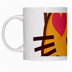 Smiling Cat Face With Heart Shape White Mugs