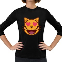 Smiling Cat Face With Heart Shape Women s Long Sleeve Dark T Shirts