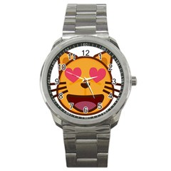 Smiling Cat Face With Heart Shape Sport Metal Watch