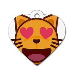 Smiling Cat Face With Heart Shape Dog Tag Heart (one Side)