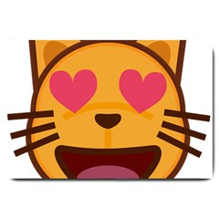Smiling Cat Face With Heart Shape Large Doormat