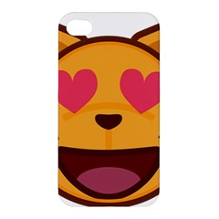 Smiling Cat Face With Heart Shape Apple Iphone 4/4s Hardshell Case