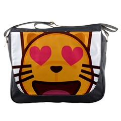 Smiling Cat Face With Heart Shape Messenger Bags