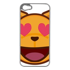 Smiling Cat Face With Heart Shape Apple Iphone 5 Case (silver)
