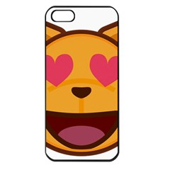 Smiling Cat Face With Heart Shape Apple Iphone 5 Seamless Case (black)