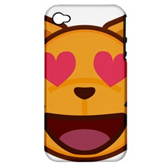 Smiling Cat Face With Heart Shape Apple Iphone 4/4s Hardshell Case (pc+silicone)