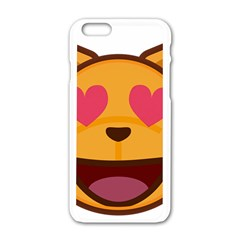 Smiling Cat Face With Heart Shape Apple Iphone 6/6s White Enamel Case