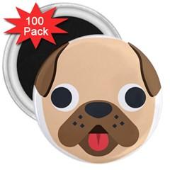 Dog Emojione 3  Magnets (100 Pack)