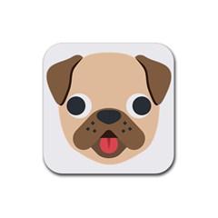 Dog Emojione Rubber Coaster (square)