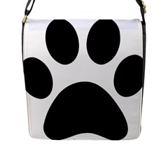 Paw Foot Print Flap Messenger Bag (l)