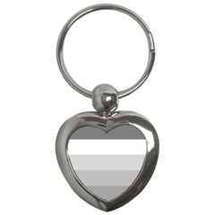 Elegant Shades Of Gray Stripes Pattern Striped Key Chains (heart)