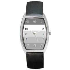 Elegant Shades Of Gray Stripes Pattern Striped Barrel Style Metal Watch