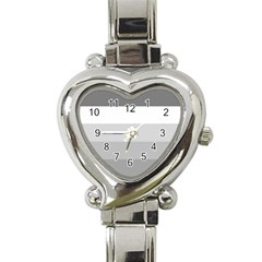 Elegant Shades Of Gray Stripes Pattern Striped Heart Italian Charm Watch