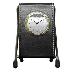 Elegant Shades Of Gray Stripes Pattern Striped Pen Holder Desk Clocks