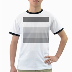 Elegant Shades Of Gray Stripes Pattern Striped Ringer T Shirts