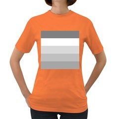 Elegant Shades Of Gray Stripes Pattern Striped Women s Dark T Shirt