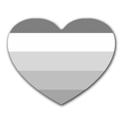 Elegant Shades Of Gray Stripes Pattern Striped Heart Mousepads