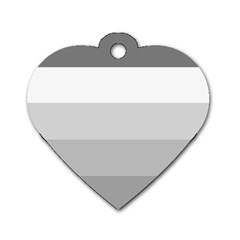 Elegant Shades Of Gray Stripes Pattern Striped Dog Tag Heart (one Side)