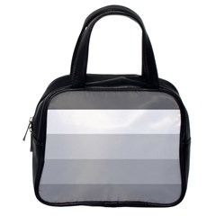 Elegant Shades Of Gray Stripes Pattern Striped Classic Handbags (one Side)