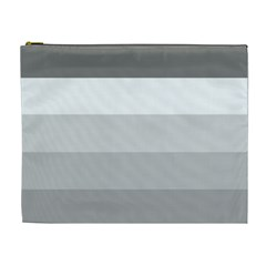 Elegant Shades Of Gray Stripes Pattern Striped Cosmetic Bag (xl)