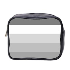 Elegant Shades Of Gray Stripes Pattern Striped Mini Toiletries Bag 2 Side