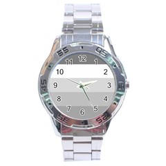 Elegant Shades Of Gray Stripes Pattern Striped Stainless Steel Analogue Watch