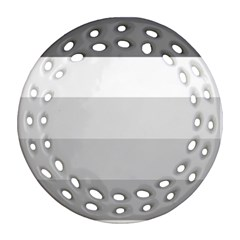 Elegant Shades Of Gray Stripes Pattern Striped Ornament (round Filigree)