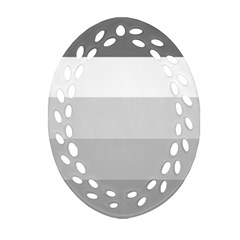 Elegant Shades Of Gray Stripes Pattern Striped Oval Filigree Ornament (two Sides)