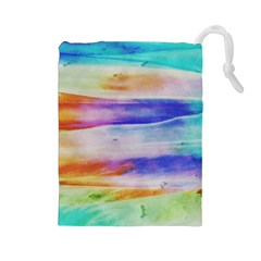 Background Color Splash Drawstring Pouches (large)