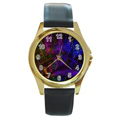 Color Splash Trail Round Gold Metal Watch by goodart