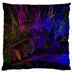 Color Splash Trail Large Flano Cushion Case (one Side) by goodart