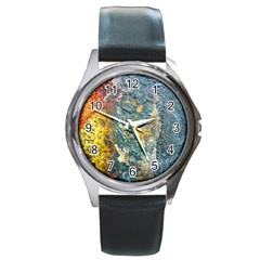 Colorful Abstract Texture  Round Metal Watch by dflcprints