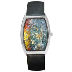 Colorful Abstract Texture  Barrel Style Metal Watch