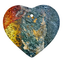 Colorful Abstract Texture  Heart Ornament (two Sides)