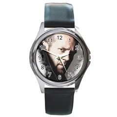 A Tribute To Jason Statham Round Metal Watch by Naumovski