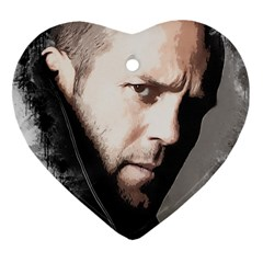 A Tribute To Jason Statham Heart Ornament (two Sides) by Naumovski