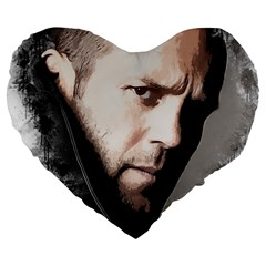 A Tribute To Jason Statham Large 19  Premium Heart Shape Cushions by Naumovski