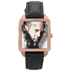 A Tribute To Jason Statham Rose Gold Leather Watch