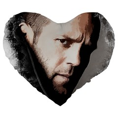 A Tribute To Jason Statham Large 19  Premium Flano Heart Shape Cushions by Naumovski