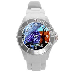 House Will Be Built 8 Round Plastic Sport Watch (l)