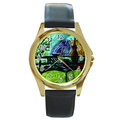 House Will Be Built Round Gold Metal Watch