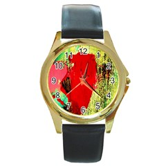 Humidity 9 Round Gold Metal Watch